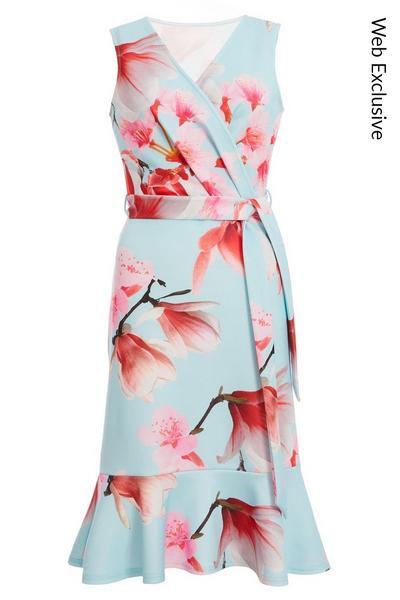 Blue and Pink Floral Frill Hem Midi Dress